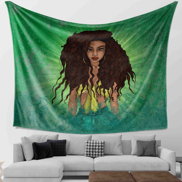 Afro Black Princess Art - Beauty Princess Forest Style Wall Tapestry