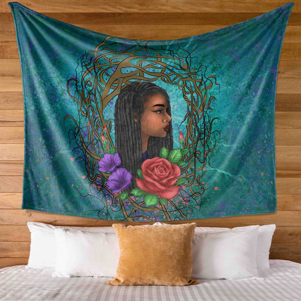 Locs Style For Women Art Wild Natural Style Long Hair Girl Wall Tapestry