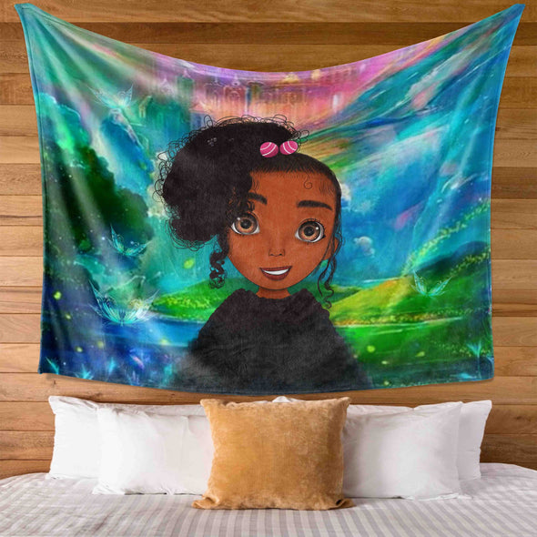 Black Kid Art - Colorful Bright Cute Afro Curly Hair Girl Wall Tapestry