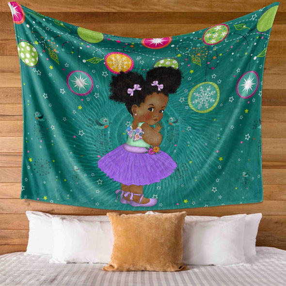 African Black Kid - Chubby Cheeks Girl Back To School Kid Wall Tapestry