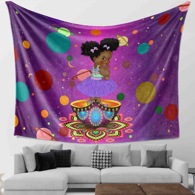 African Black Kid - Chubby Cheeks Girl Back To School Outdoor Wall Tapestry