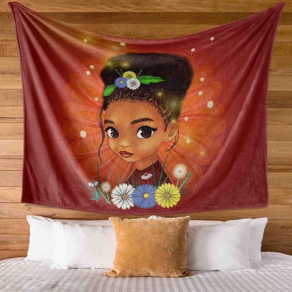 African American Daughter - Bright Smart Afro Daughter Wall Tapestry