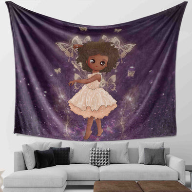 African American Daughter - Afro Black Princess Angel Wall Tapestry