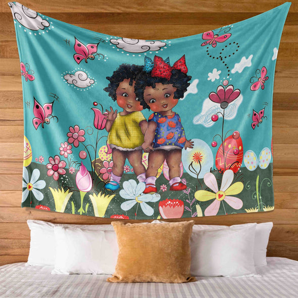 African Black Kids - Hi Friends Cute Black Kid Grow Together Wall Tapestry