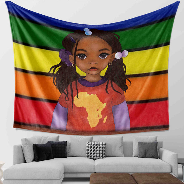 Black Girl Art Vintage Style Pride Be A African Lovely Black Daughter Wall Tapestry