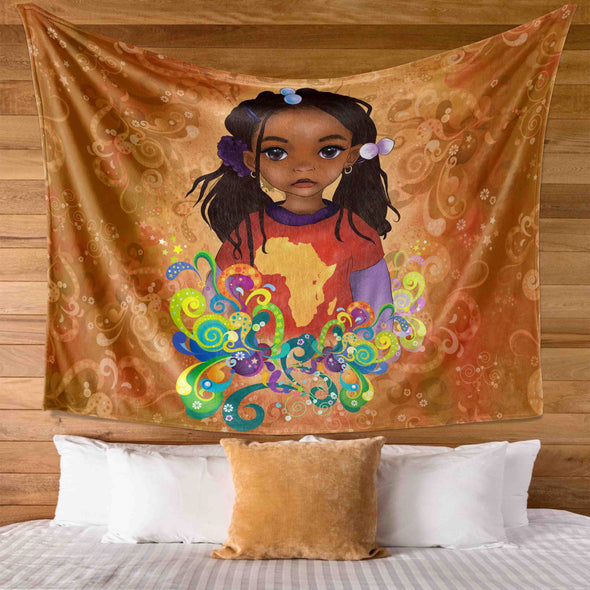 Black Girl Art Natural Style Pride Be A African Cute Black Daughter Wall Tapestry