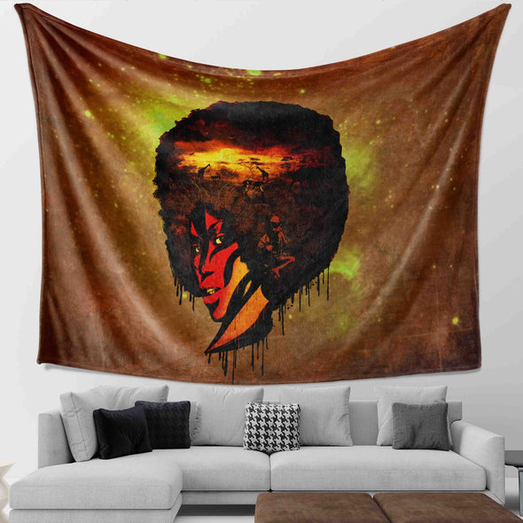 Natural Afro Hair Art - Afro African American Women Wall Tapestry