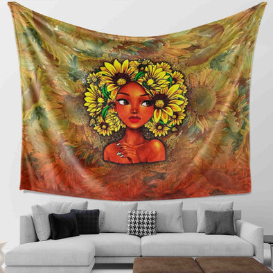 Black Girl Art - Black Beauty Girl Sun Flower Hair Style Wall Tapestry