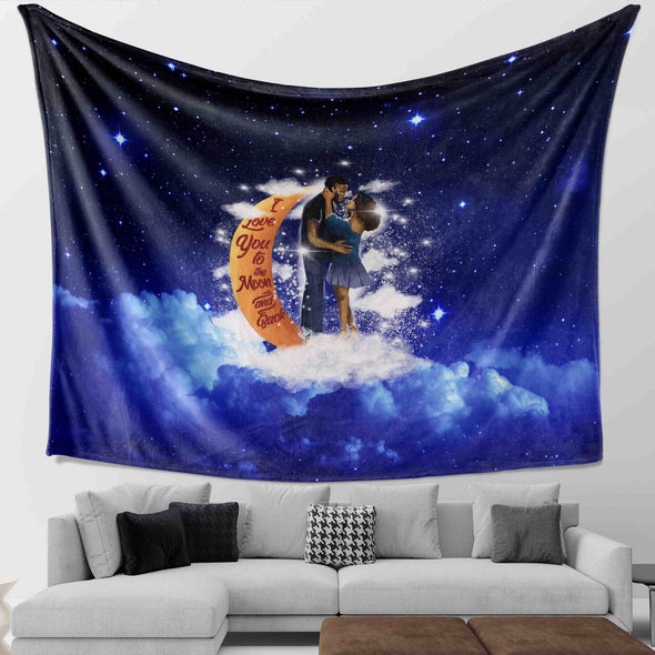 Black Couple Art - I Love You To The Moon And Back Wall Tapestry