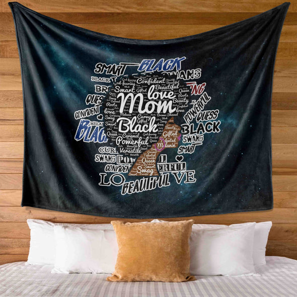 Afro Mom Words Art - Love Black Afro Mom Natural Wall Tapestry