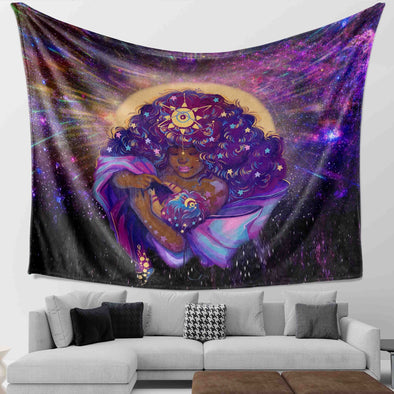 African American Women Art - Beauty Mother And Baby Galaxy Wall Tapestry