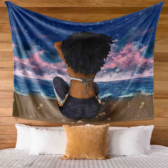 Afro Girl Art - Strong Alone Sexy Afro Beach Women Girl Wall Tapestry