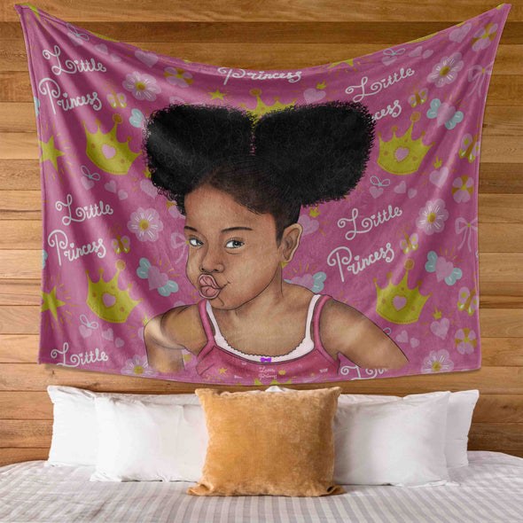 Melanin Poppin Kid Art - Afro Hair Little Princess Melanin Poppin Wall Tapestry