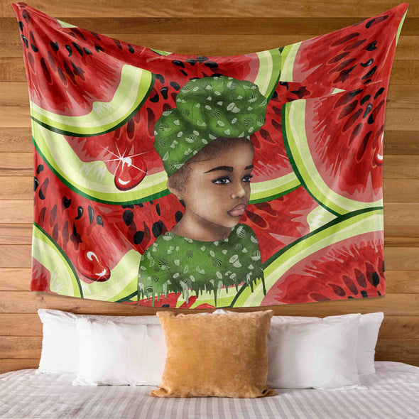 Black Kid Art - Watermelon Turban Hair Lovely Girl Wall Tapestry