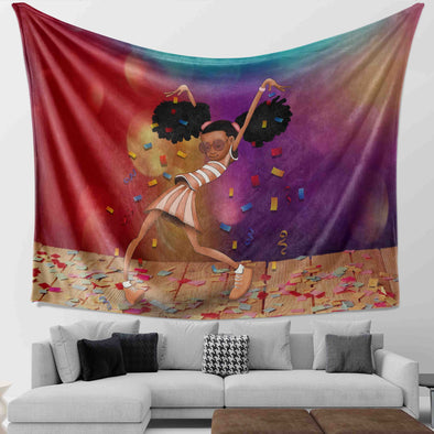 Afro Black Girl - Afro Black Girl Excellent Performance Wall Tapestry