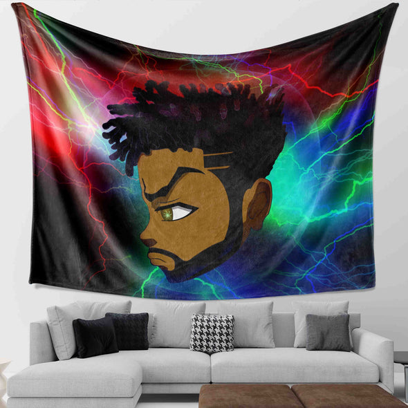 Black Boy Magic - Thunder Strong Short Hair Green Eyes Black Man Wall Tapestry