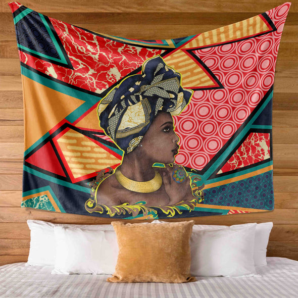 African American Women Art Traditional Turban Woman Wall Tapestry