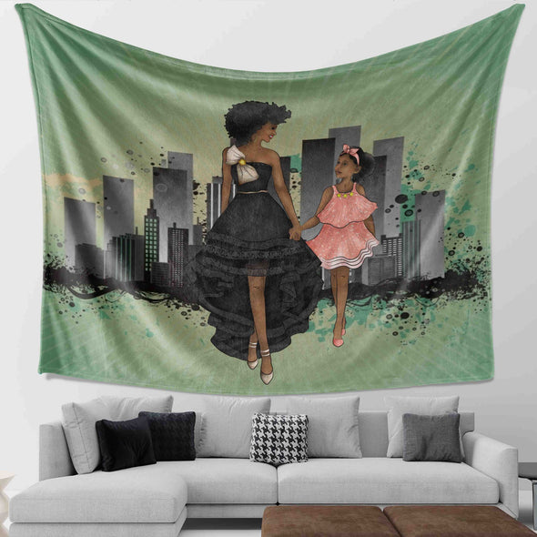 Black Daughter Gift - Black Woman And Daughter Go To The Party Wall Tapestry