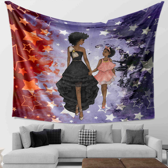 Black Woman Artwork - Luxury Beauty Mom And Daughter Party Wall Tapestry