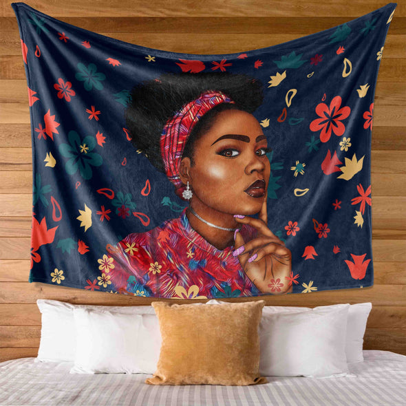 Black Women Art - Headwrap Curl Hair Flower Brown Skin Wall Tapestry