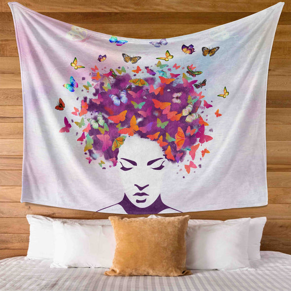 Women Natural Hair Art - Butterfly Colorful Style Wall Tapestry