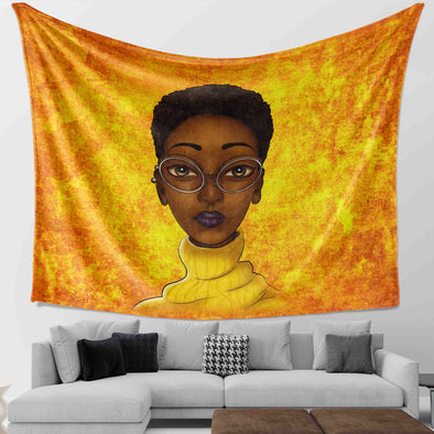 Black Women Art - Short Hair Beauty Educated Brown Skin Wall Tapestry