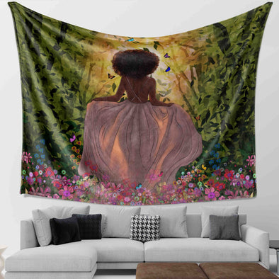 Black Women Artwork - Afro Natural Forest Princess Angel Wall Tapestry