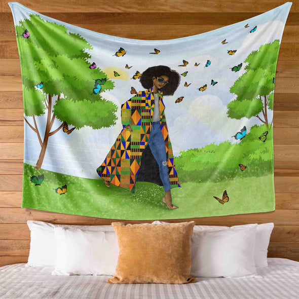Black Women Art - Keepin It Moving Natural Style Wall Tapestry