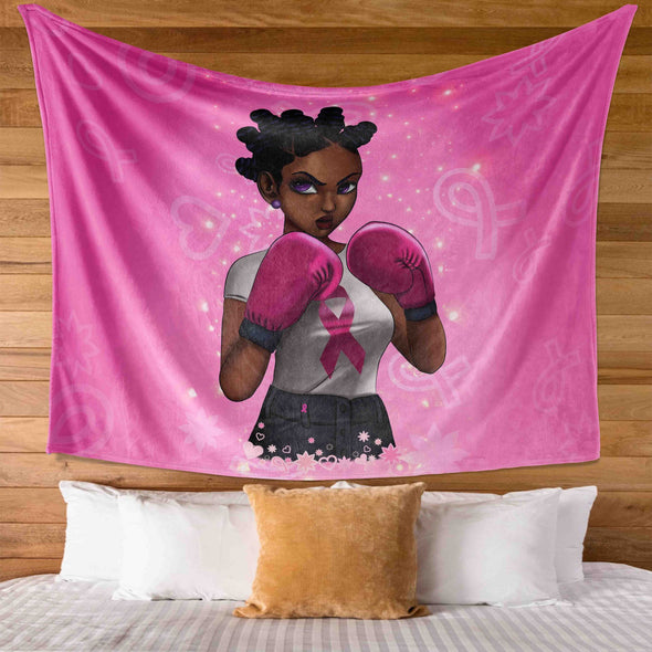 Breast Cancer Awareness Black Art - Dreadlocs Are Fighters Wall Tapestry