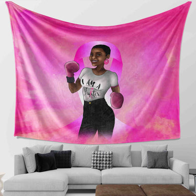 Breast Cancer Awareness Month Black Art African American Black Fighter Wall Tapestry