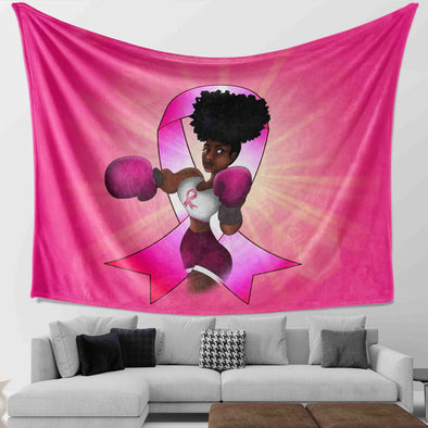 Pink Ribbon African American Art Black Women Is A Fighter Wall Tapestry