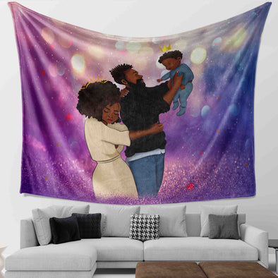Black Family Artwork Happy Lovely Family Cute Babies Wall Tapestry