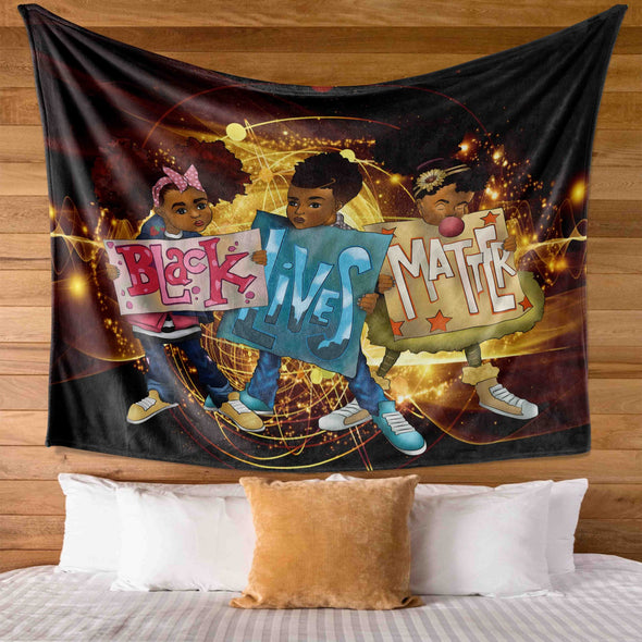 African American Black Kid Art Friends Black Lives Matter Wall Tapestry