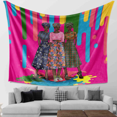Black Artwork Traditional Black Older Women Friends Africa Style Wall Tapestry
