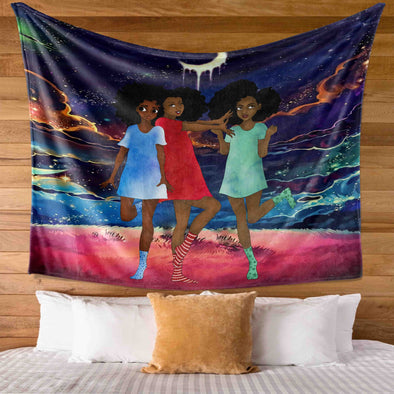 Black Kid Art Three Cute Beauty Lovely Young Girls Friends Wall Tapestry