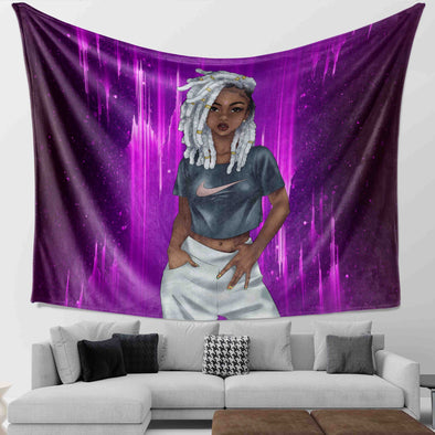 Natural Hairl Art Black Cool Girl Dreadlock Gray Hair Style Wall Tapestry
