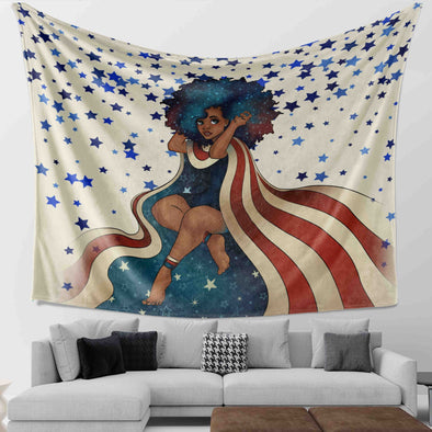 African Natural Hair Art Black Girl Afro American Style Wall Tapestry