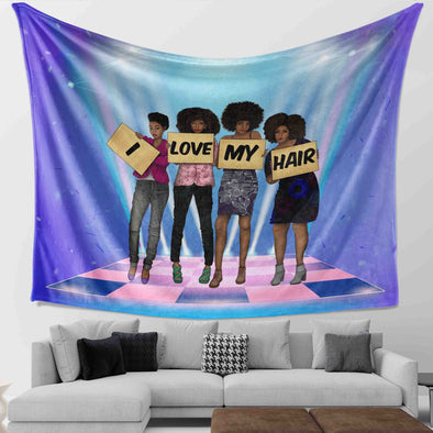 Pride Black Art Natural Black Women Friends I Love My Hair Wall Tapestry