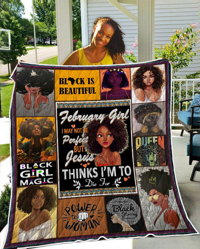 February Girl Black Is Beautiful Quilt