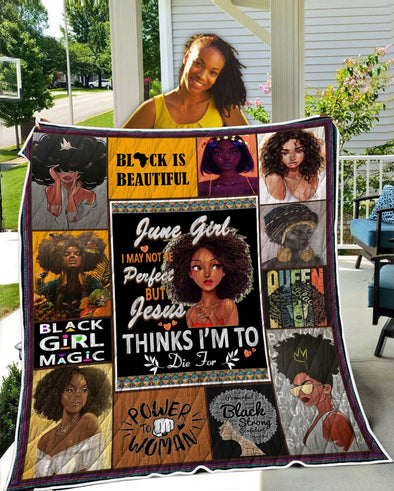 June Girl Black Is Beautiful Quilt