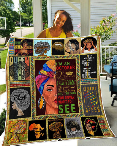 I'm An October Black Queen Quilt