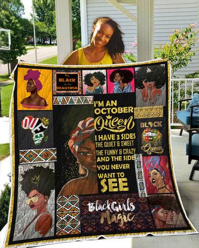 I'm An October Queen Black Beautiful Quilt