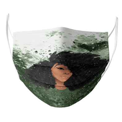 Black Girl Art - Kinky Curly Hairstyle Girl Face Mask