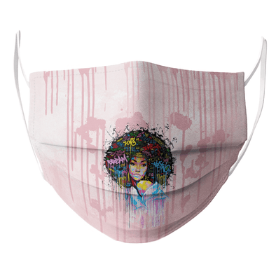 Black Women Artwork- Natural Afro Coloful Word Art Face Mask