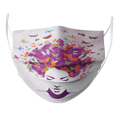 Women Natural Hair Art - Butterfly Colorful Style Face Mask