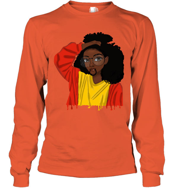 Black Girl Curly Hair - Cute Black Girl Curly Afro Long Sleeve T-Shirt