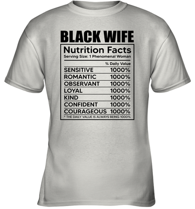Black Wife Nutrition Facts Youth T-Shirt