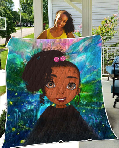 Black Kid Art Quilt - Colorful Bright Cute Afro Curly Hair Girl Quilt