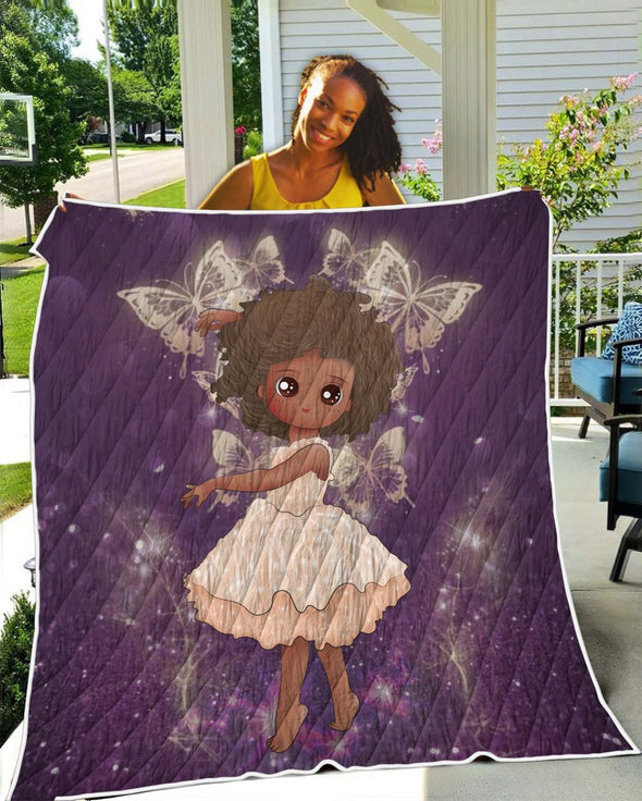 African American Daughter Quilt - Afro Black Princess Angel Quilt