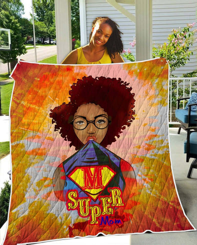 Mother's Day Present Quilt - Afro Kinky Curly Super Mom Quilt